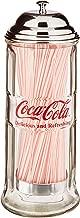 TableCraft's CC322 Coca-Cola Glass Straw Dispenser with Metal Lid