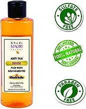Khadi Mauri Herbal Anti Tan Papaya Face Wash - Skin Lightening & Tan Removing - SLES & PARABEN FREE - Enriched with Basil, Orange & Aloe Vera - 210 ML