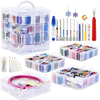 Jupean Embroidery Starter Kit, Punch Needle Tool and Supplies Including Embroidery Punch Needle, 150 Color Embroidery Floss Cross Stitch Threads with Organizer Storage Box, Floss Bobbins, Embroidery