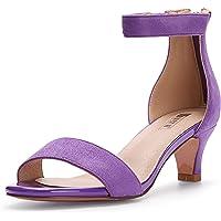 IDIFU Low Kitten Heels Open Toe Wedding Pump Women's Ankle Sandals