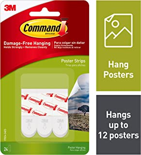 Command Poster Hanging Strips, Small, White, 24-Strips (17024-24ES)