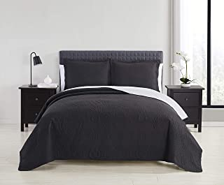 Spirit Linen Home 3pc Quilt Set Superior Comfort 2-Side Reversible Embossed Quilts with 2 Pillow Sham and Multiple Color Options (Black, Grey, Full Queen)