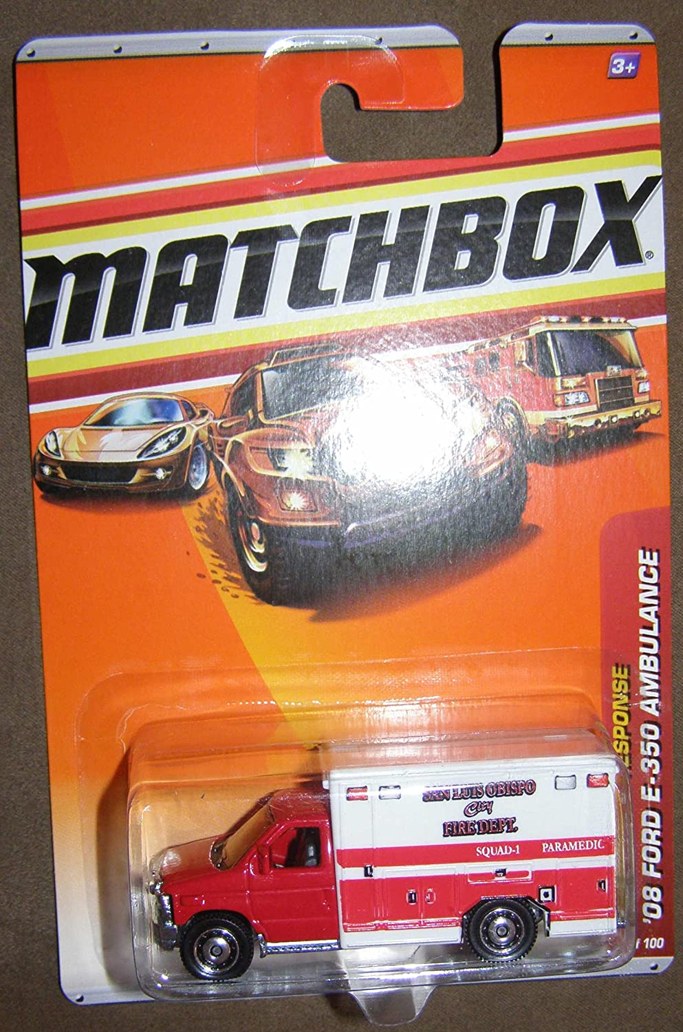 2010 MATCHBOX EMERGENCY RESPONSE  54 RED AND WHITE SAN LUIS OBISPO CITY FIRE DEPT. '08 FORD E-350 AMBULANCE