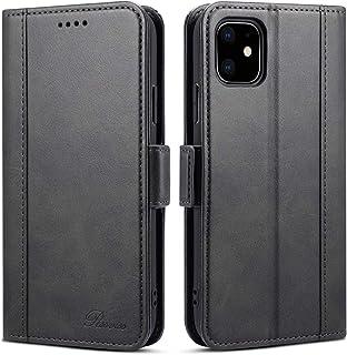 iphone 11 ケース 手帳 手帳型 - Rssviss iphone 11 カード収納 カバー Qi充電対応 サイドマグネット スタンド機能付き 保護 PUレザー ブラック【6.1inch】