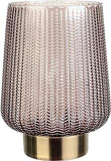 Pauleen 48137 Fancy Glamour Lampe Mobile Poser minuterie 6h Pile luminaire câble Verre Gris/Métal, 0.8 W, Brun, Laiton