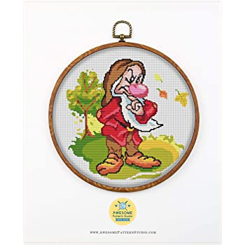 Embroidery Pattern No Fabric Needles 4 Printed Schemes Inside 7 Dwarfs Grumpy K706 Counted Cross Stitch Pattern Hoops Threads