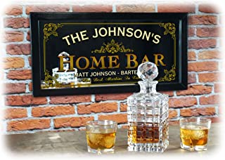 THOUSAND OAKS BARREL Personalized Home Bar Decorative Framed Mirror for The Mancave or Kitchen
