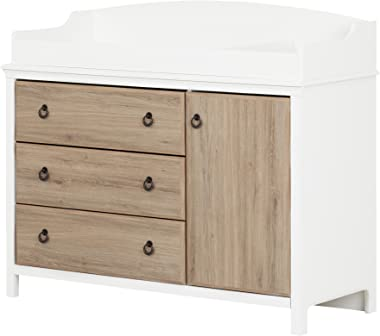 South Shore Catimini Long Changing Table with Removable Changing Station with Drawers and Door, Pure White & Rustic Oak