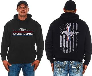 JH DESIGN GROUP Mens Ford Mustang Hoodie Distressed American Flag 2-Sided Sweatshirt