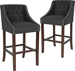 Taylor + Logan 30 Inch High Transitional Tufted Walnut Barstool with Accent Nail Trim, Set of 2, Black
