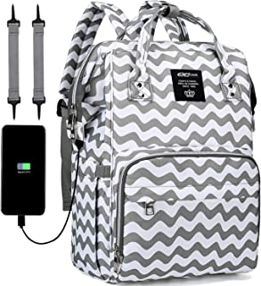 Upgraded Diaper Bag Backpack, COCOCKA Large Baby Bag with Changing Pad, Travel Backpack Built in USB Charging Port, Waterproof Maternity Bag Comes with Stroller Straps and Insulated Pockets