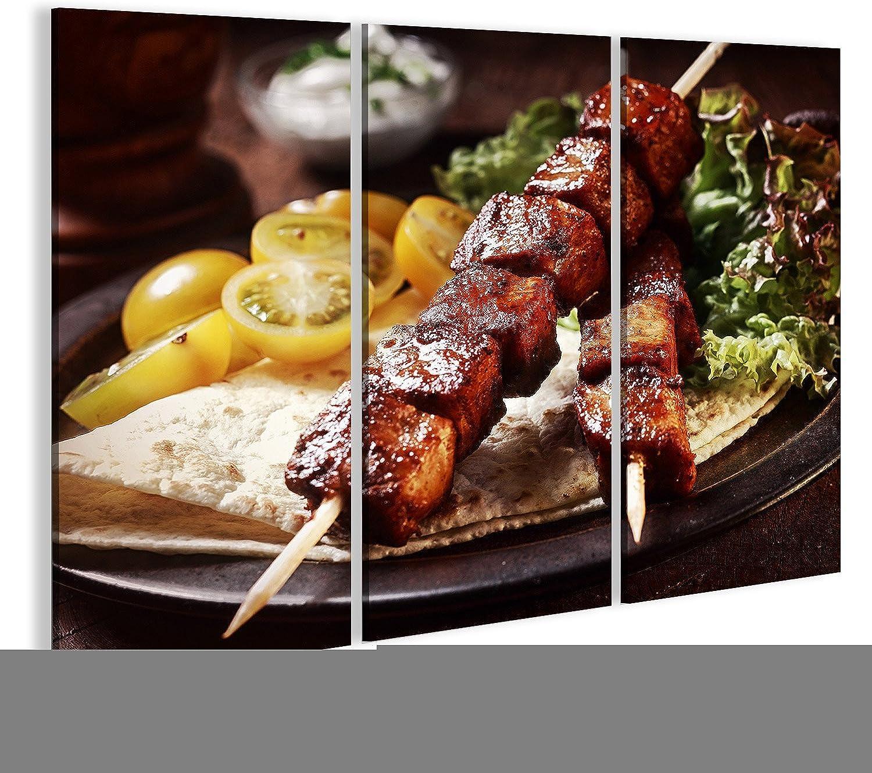 Bild Bilder auf Leinwand Gesunde gegrillte magere gewürfelte Schweinefleischkebabs dienten mit Einer Maistortilla und Einem frischen Kopfsalat- und Tomatensalat, Abschluss herauf Ansicht übe B07DZFVBQS | Erschwinglich