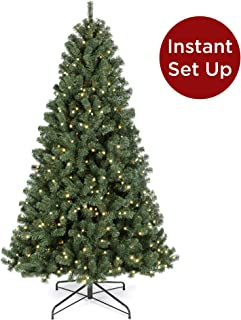 Best Choice Products 9ft Pre-Lit Instant Setup No Fluff Hinged Artificial Spruce Christmas Tree w/ 900 LED Lights, 2,128 Memory Steel Tips, Metal Stand