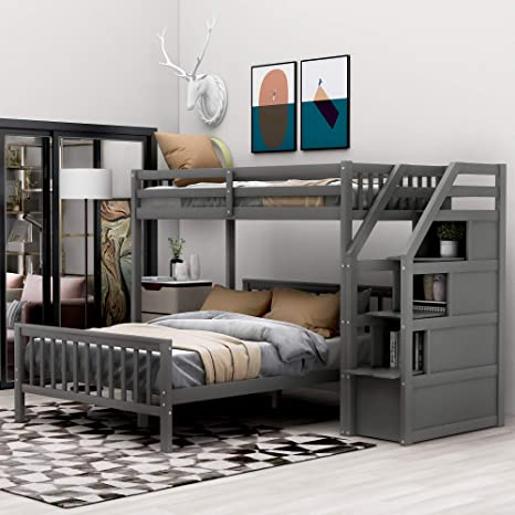 Amazon Com Merax Solid Wood Twin Over Full Bunk Bed With 3 Storage Wooden Loft Bed And Platform Bed Frame Fo Kids Teens Adults Can Be Separated Into 2 Beds Grey Kitchen