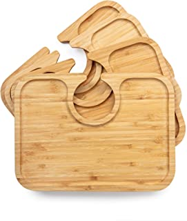 Light weight bamboo wood appetizer plates with wine glass cutout holder for cocktail party, wine tasting, wedding shower, hostess, housewarming gift, set of 4, beveled edge, large size holds more