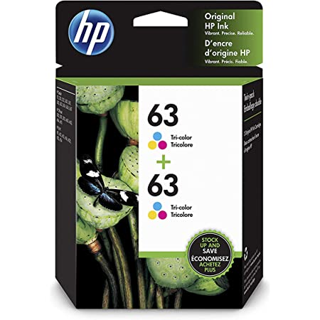 HP 63   2 Ink Cartridges   Tri-color   Works with HP DeskJet 1112, 2100 Series, 3600 Series, HP ENVY 4500 Series, HP OfficeJet 3800 Series, 4600 Series, 5200 Series   F6U61AN