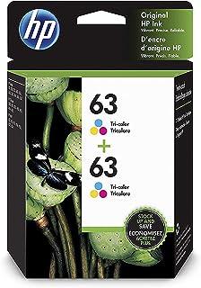 HP 63 | 2 Ink Cartridges | Tri-color | Works with HP DeskJet 1112, 2100 Series, 3600 Series, HP ENVY 4500 Series, HP Offic...