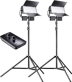 Walimex pro LED Sirius 160 Bi Color 2er Set mit Stativ + Fernbedienung   2x 65W Bi Color Flächenleuchte, Studioleuchte, 2x 65 Watt 6000 Lumen, 5600K, dimmbar, mit Fernbedienung, für Foto + Video