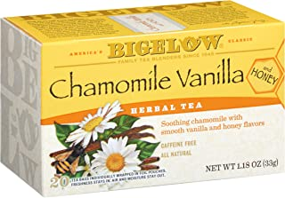 Bigelow Chamomile Vanilla Herbal Tea With Honey 20 Count (Pack of 6), 120 Tea Bags Total. Caffeine-Free Individual Herbal Tisane Bags for Hot or Iced Tea, Drink Plain or Sweetened with Honey or Sugar