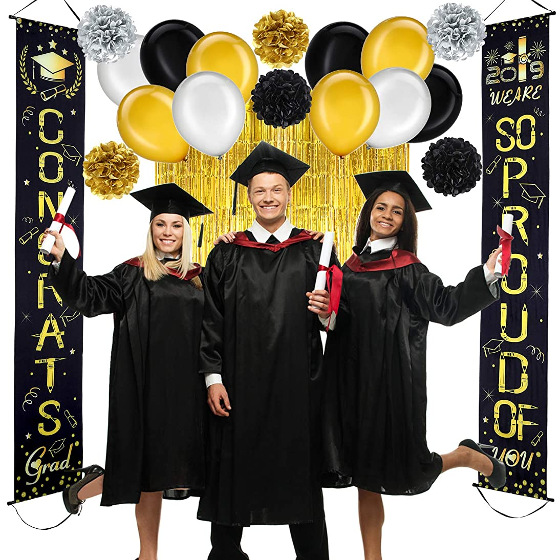 WE are SO Proud of You Banner Decoration Set Graduation Porch Sign Foil Curtains Metallic Fringe Curtains Tissue Paper Pom Poms for Graduation Party Grad Party Decorations
