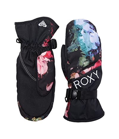 Roxy Jetty Snowboard/Ski Mittens (True Black Blooming Party) Extreme Cold Weather Gloves