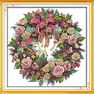 Joy Sunday A Wreath of Roses Counted Cross Stitch Kits,Cross-Stitch White Blank Fabric DIY DMC Embroidery Kit 14 Count 18''x18''