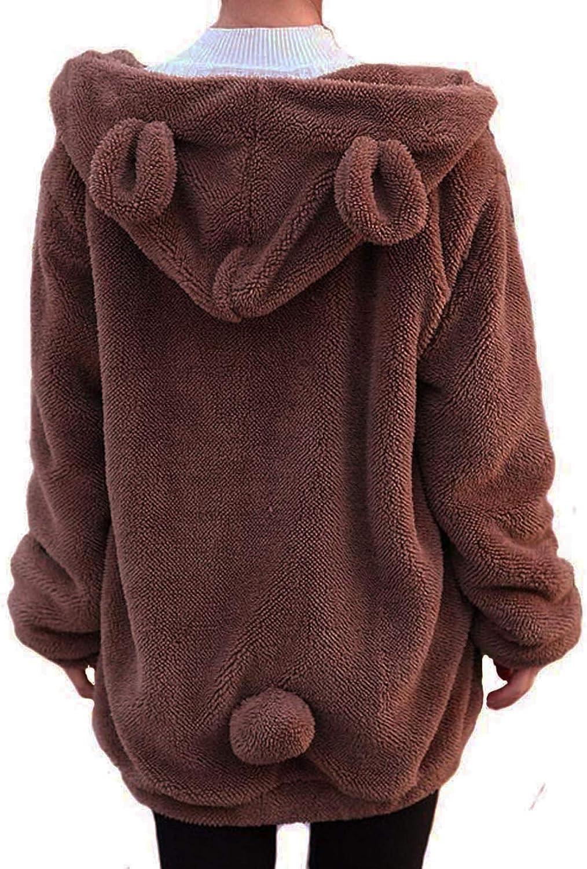 Winter Womens Dallas Mall Fluffy Bear Tail Hoodie Lovely Hoodies bunny Plush Jacksonville Mall