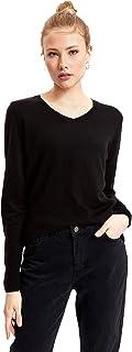 DeFacto Woman Regular Fit trui met lange mouwen met V-hals voor vrouwen casual basic tops T-shirt pullover voor dames