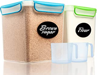 2 Large Airtight Food Storage Containers for Flour, Sugar 142 ounces - Kitchen Pantry Plastic Containers - Air Tight Canisters Set With Locking Lids - 4 Labels, Marker and 2 Measuring Cups by GoodCups
