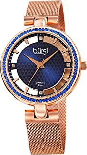 Burgi Sparkling Colored Crystals Women's Watch - Floating Dial On Shimmering Triangle Pattern 4 Genuine Diamond Markers On Stainless Steel Mesh Band -BUR262
