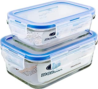 Mondex CMN0094-96 2 Pieces Food Storage Container with Lid, Blue, 350 ml/700 ml, Rectangle, Glass