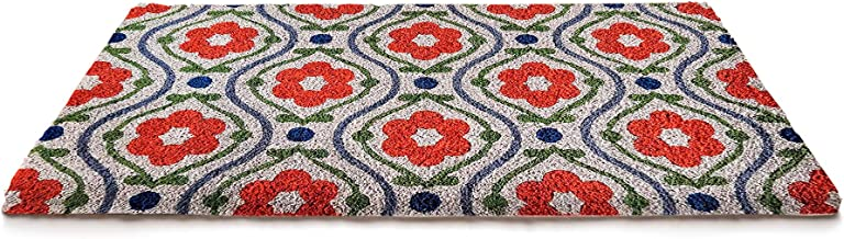 NACH FW-7836 Classic Durable Hygienic Welcoming Doormat, Natural Coconut Coir, 18 x 30 Inches, Floral Pattern, Red, Green ...