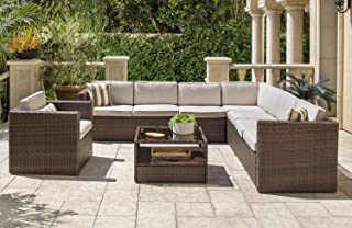 SOLAURA 7 Pieces Outdoor Sectional Furniture Brown Wicker Conversation Sofa Set with Light Brown Cushion and Glass Coffee Table