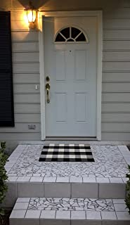 "DOLOPL Door Mats Buffalo Rugs Buffalo Check Outdoor Rug Black and Off White Rug 18""x28"" Durable Easy to Clean Plaid Porch ..."