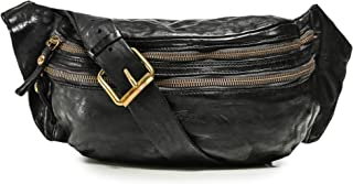 Campomaggi Men's Leather Mock Croc Waist Bag Black
