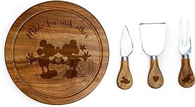 مجموعة أطباق جبن خشبية من مجموعة ميكي وميني ماوس بري، مع أدوات جبن من ديزني كلاسيكس