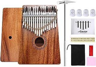 Asmuse Kalimba Caoba Thumb Piano 17 Teclas Mbira Madera Maciza Finger piano Sanza Thumb Instrumento con Bolsa de Transporte Música Songbook 15 canciones Guía de estudio