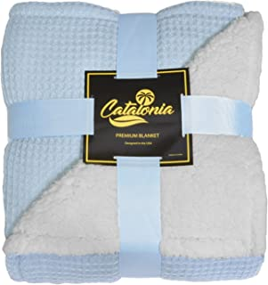 Catalonia Super Soft Sherpa Throws,Reversible Cozy Waffle Pattern Knitted Blanket and Throw for Couch Bed 50