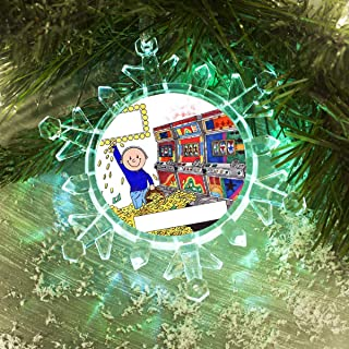 PrintedPerfection.com Personalized Friendly Folks Cartoon Lighted Snowflake Christmas Ornament: Slot Machine Player, Gambler, Jackpot Winner - Male