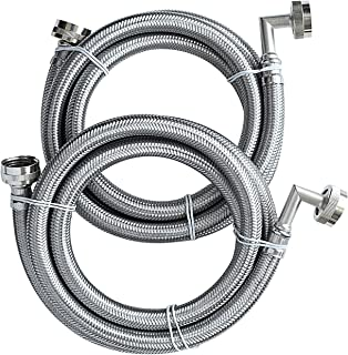 """UV Hot & Cold Washing Machine Connection Kit with Elbows - 6 ft (72"""") - 2 Pack - Stainless Steel Braided"""