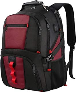 17 Inch Laptop Backpack,Large Travel Computer Backpack for Women Men with USB Charging Port,Durable College School Fashion Bookbag TSA Friendly Water Resistant Laptop Backpack,Red