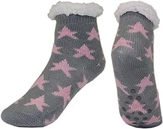 irisaa, 1 par de calcetines de invierno con suela de ABS para niñas y niños, cálidos calcetines para cabaña, estrellas, gruesos, antideslizantes.