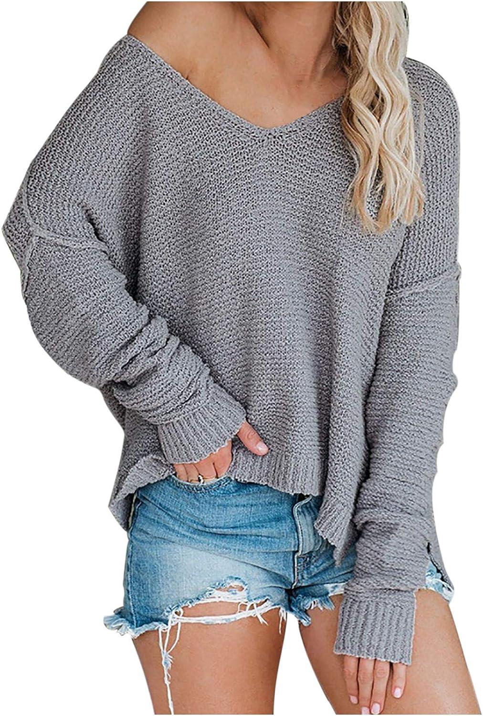 Women's Long Sleeve One Off Shouder Pullover Sweater Casual Loose V Neck Knit Blouse Split Hem Blouse Tops