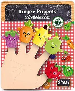 Marionetki na Palce dla dzieci i niemowląt | 5 Owoce i Warzywa | Kukiełki z PVC bez BPA | Zabawki do wanny | Lalki na Dłon...