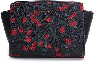 Michael Kors 35H8GLMM2V Selma Medium Crossbody Messenger Satchel Bag in Black Red Floral
