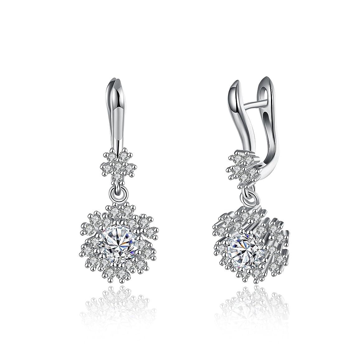 BALANSOHO Elegant Snowflake Flower White CZ Bridal Dangle Earrings for Women in 925 Sterling Silver