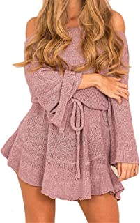 DATAIYANG Chic Women's Strapless Off Shoulder Long Sleeve Knit Sweater Party Mini Dress