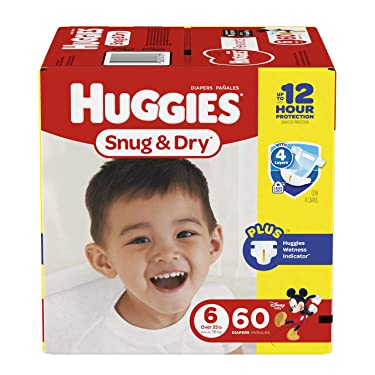Huggies Snug & Dry Diapers, Size 6, 60 Count (Packaging May Vary)