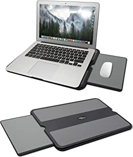 MAX SMART Portable Laptop Lap Pad, Laptop Desk with Retractable Mouse Tray, Anti-Slip Heat Shield Surface, Computer Stand Table, Working Station for Home, School, Office, Recliner, Business and Travel