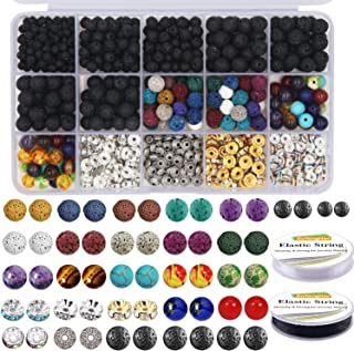 EuTengHao 602Pcs Lava Beads Stone Kits with 8mm Chakra Beads and Spacers Beads Bracelet Elastic String for Diffuse Essenti...